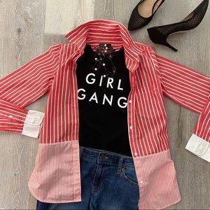 GAP Red Stripe Button Down Shirt size XS